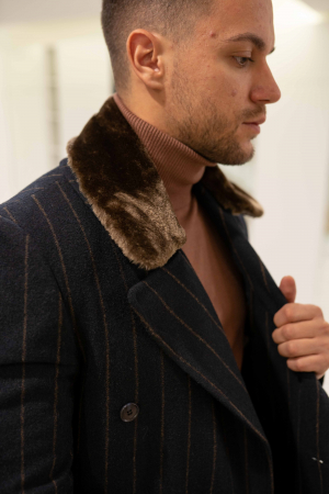 Palton STUART cu guler din blana artificiala1