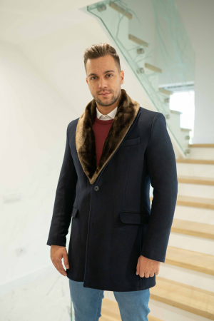 Palton MATEO cu guler din blana artificiala0
