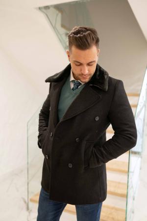 Palton  ARIZONA de barbati  cu guler din blana artificiala1
