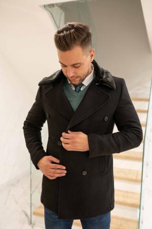 Palton  ARIZONA de barbati  cu guler din blana artificiala2