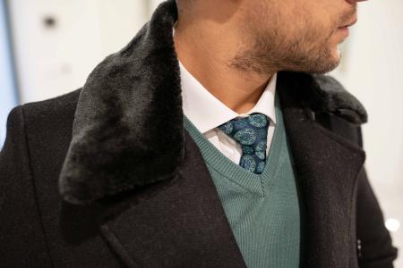Palton  ARIZONA de barbati  cu guler din blana artificiala6