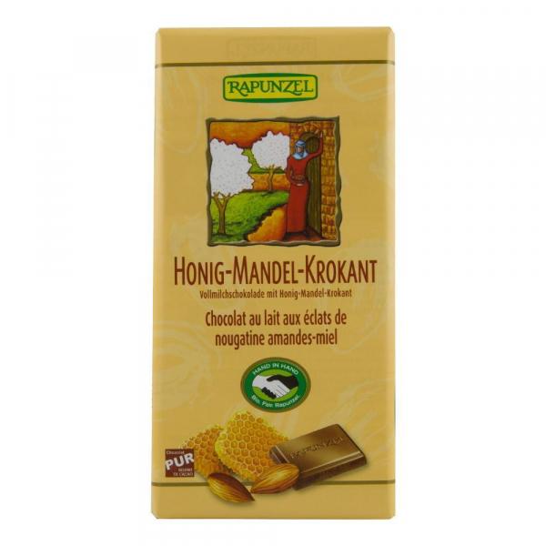 Ciocolata din lapte integral, crocanta, cu miere si migdale Fairtade Rapunzel, Bio, 100g 0