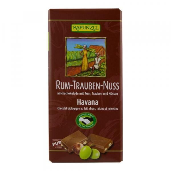 Ciocolata cu stafide alune si rom Fairtade Rapunzel, bio, 100 g 0