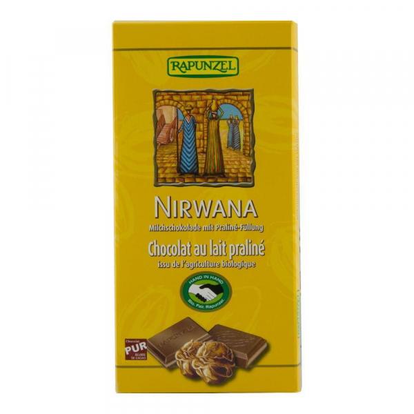 Ciocolata Nirwana cu lapte si crema de praline Fairtrade, bio, 100g 0