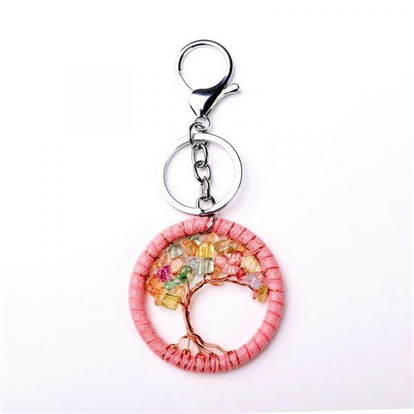 Breloc Dreamcatcher Pink Tree 0