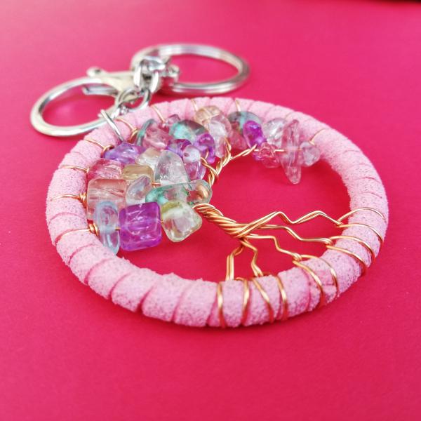 Breloc Dreamcatcher Pink Tree 2