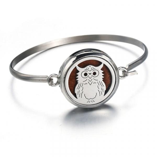Bratara Aromaterapie Silver Owl Otel Inoxidabil