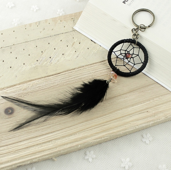 Breloc Dreamcatcher Black Feather 1
