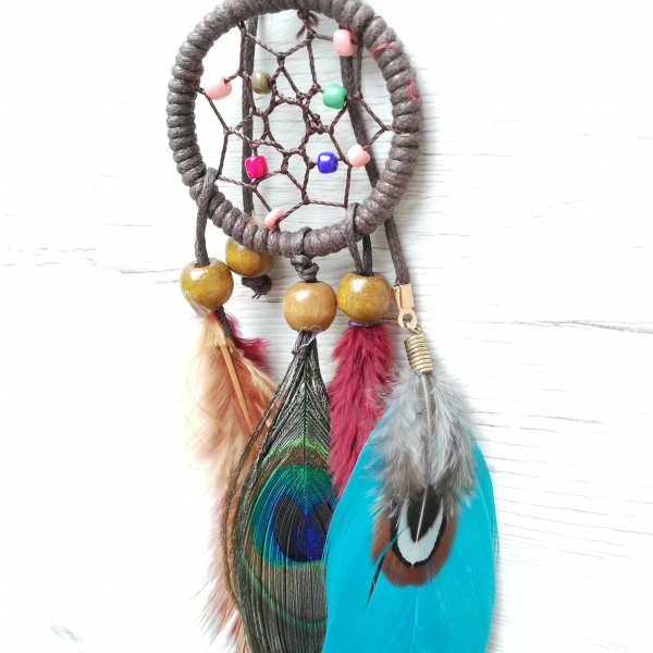 Breloc Dreamcatcher Peacock Feather 1