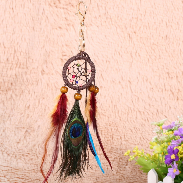 Breloc Dreamcatcher Peacock Feather 2