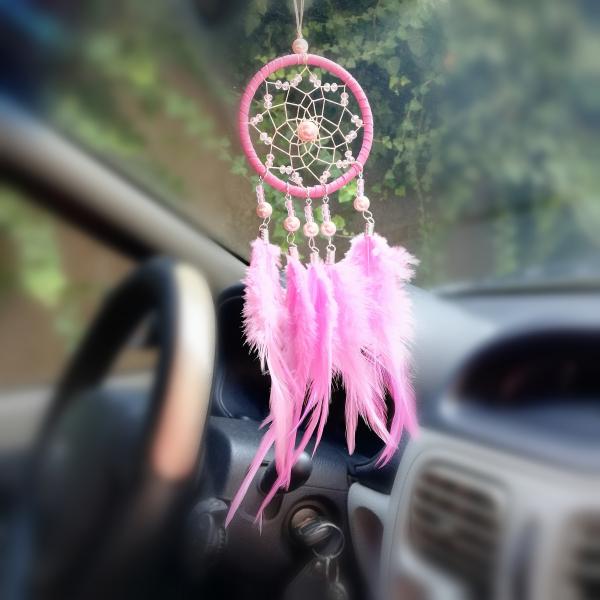 Dreamcatcher Marble Feathers, Roz, pentru masina 0