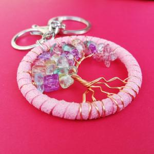 Breloc Dreamcatcher Pink Tree2