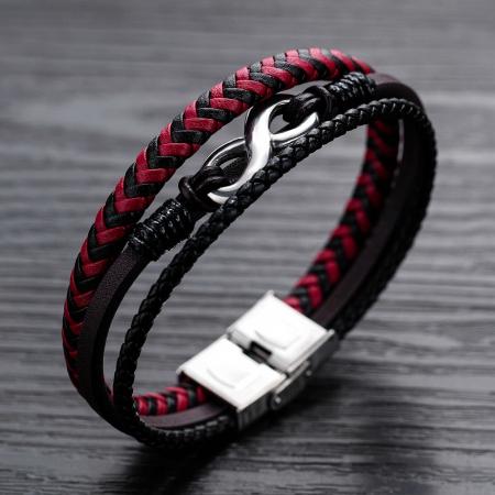 Bratara Piele Red Infinity [2]