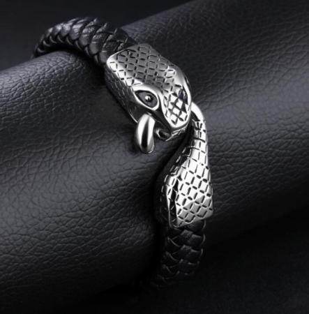 Bratara Piele Viking Snake2