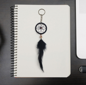 Breloc Dreamcatcher Black Feather2