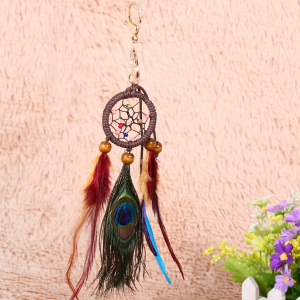 Breloc Dreamcatcher Peacock Feather2