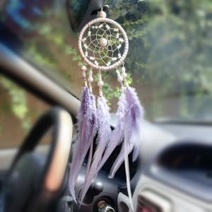 Dreamcatcher Marble Feathers, Gri, pentru masina0