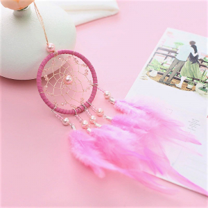 Dreamcatcher Marble Feathers, Roz, pentru masina1