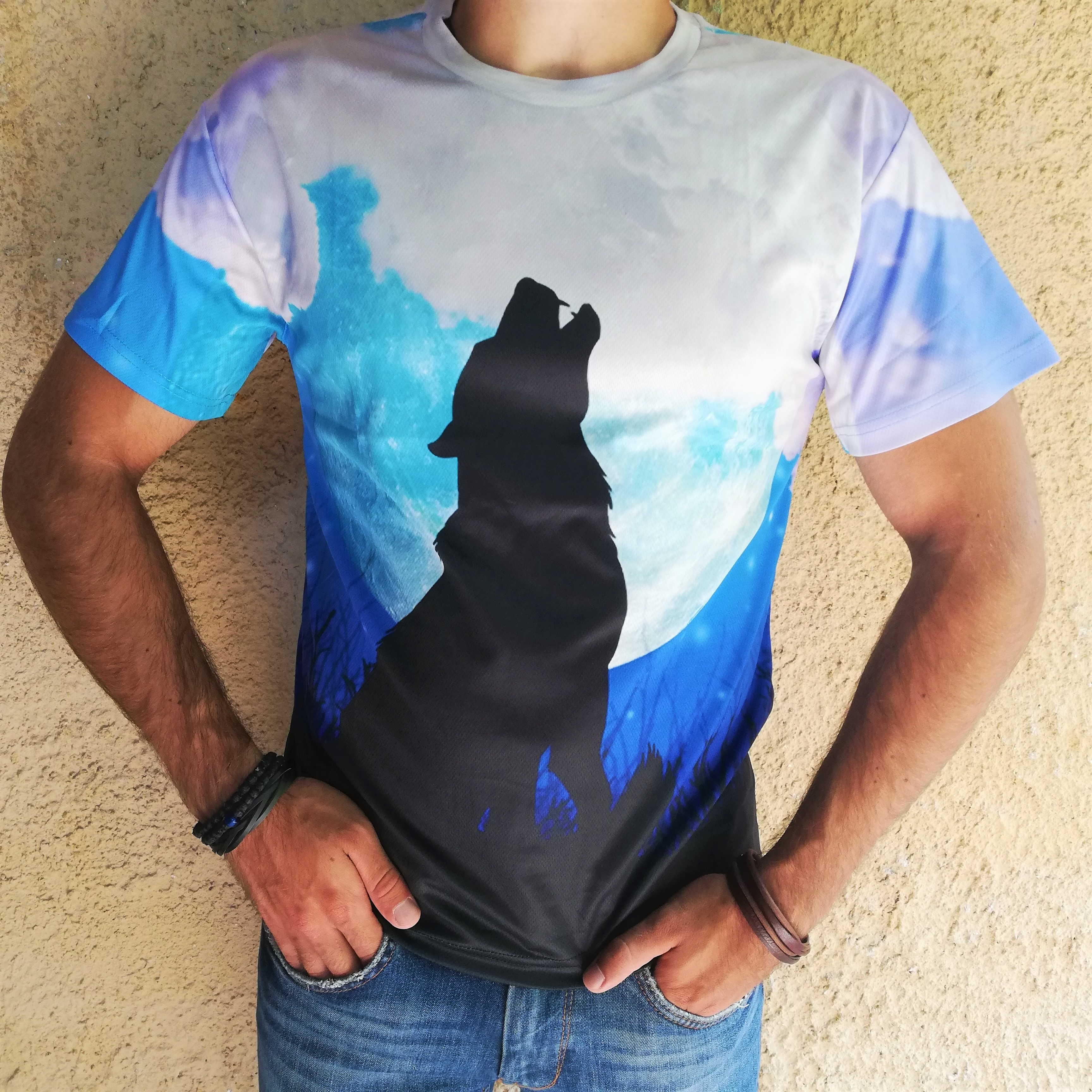 Tricou 3D Wolf Moon Howl0