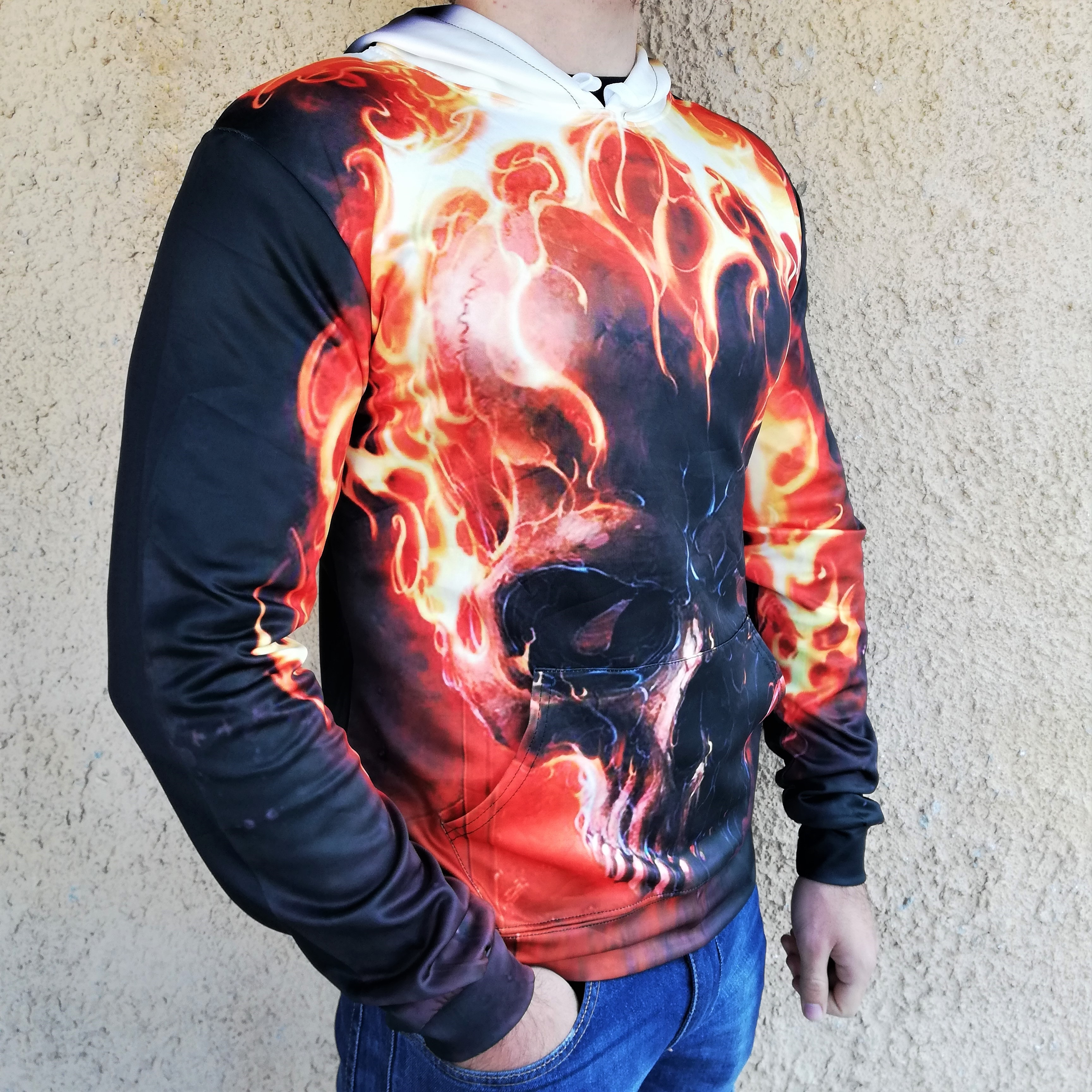 Hanorac 3D Fire Skull
