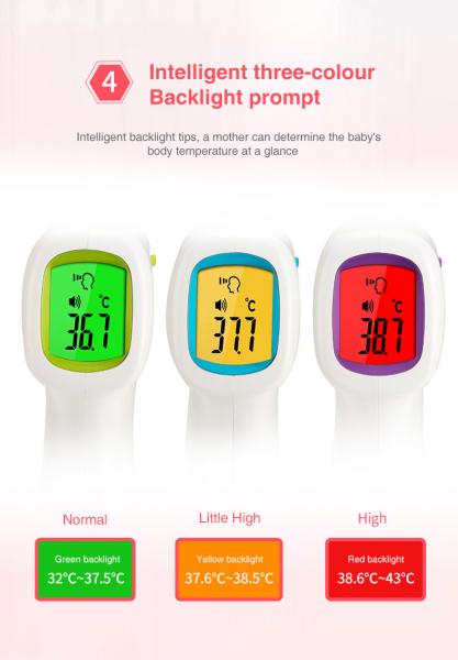 Termometru cu infrarosu pentru copii cu LCD, masurare temperatura umana si obiecte, Avertizare temperatura marita 2