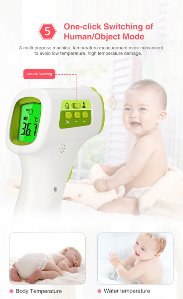 Termometru cu infrarosu pentru copii cu LCD, masurare temperatura umana si obiecte, Avertizare temperatura marita 3