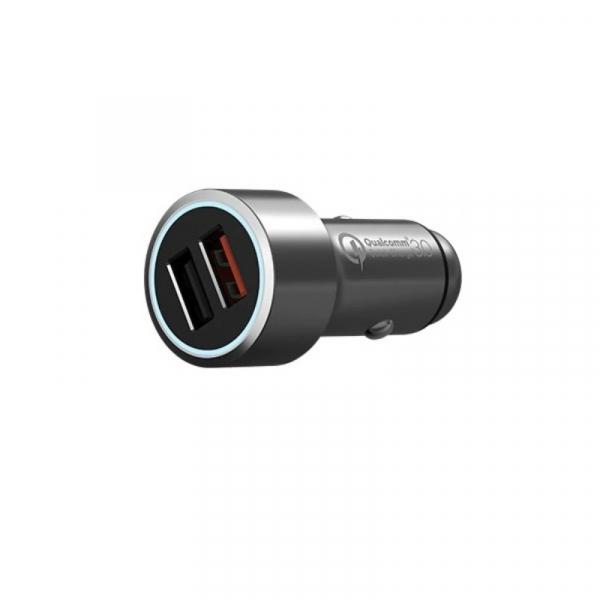 Incarcator auto Xiaomi 70MAI Midrive C02, Dual USB, Incarcare rapida Qualcomm QC 3.0, Intrare 12V/24V, Iesire 5V/3A, Carcasa metalica, Gri 3