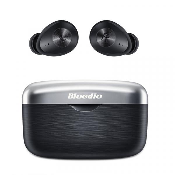 Casti wireless in-ear Bluedio Fi cu cutie de incarcare si transport, Bluetooth 5.0, Chip Qualcomm, Touch control, VFT, APTX, Negru 0