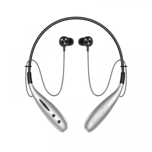 Casti bluetooth in-ear cu guler Bluedio Hn+, Difuzor de 13mm, 116dB, 32 , Microfon, Slot memorie, Bluetooth v5.0, Design magnetic, Silver imagine