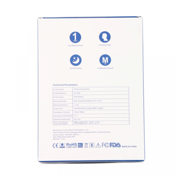 Termometru digital cu infrarosu CLOC SK-T008 pentru adulti si copii, Display iluminat, Masurare rapida 1s fara contact 6