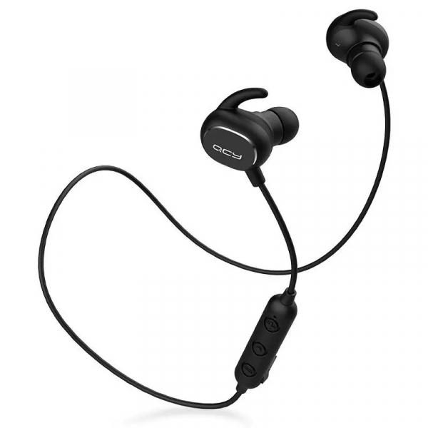 Casti bluetooth in-ear QCY QY19 cu guler, 32 , Microfon, Control pe fir, DSP, Bluetooth v5.0, 74mAh, IPX4, Negru imagine