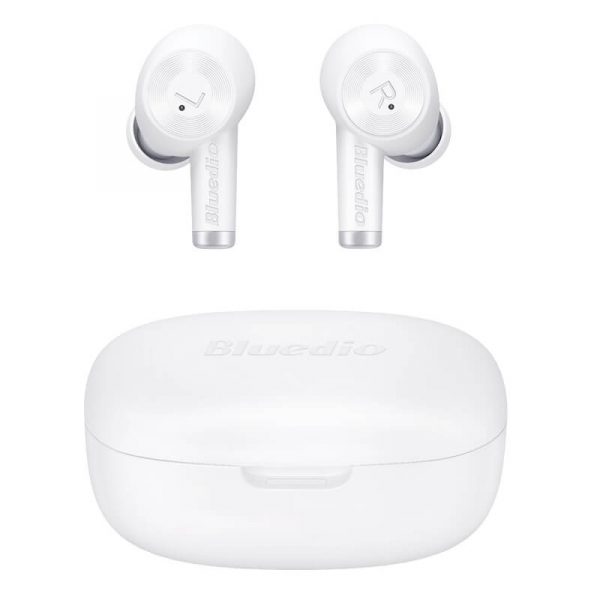 Casti bluetooth semi-in-ear Bluedio Elite Ei Alb cu cutie de incarcare si transport, Incarcare wireless, Microfon cu ANC, Bluetooth v5.0 imagine
