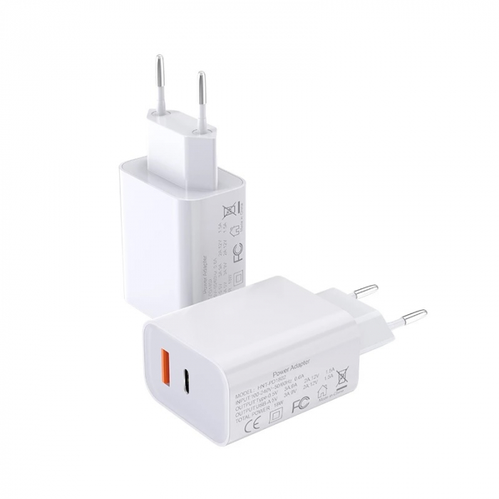 Incarcator Bluedio HNT-PD1802 Alb de 18W cu USB-A si USB Type-C imagine dualstore.ro 2021
