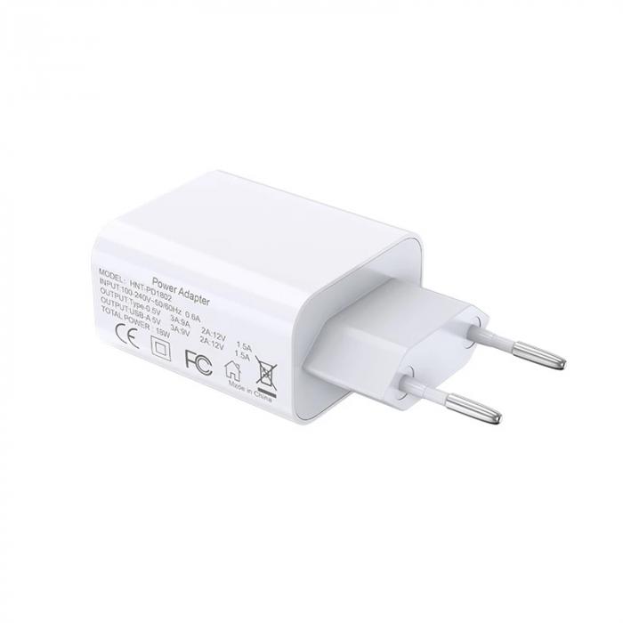 Incarcator Bluedio HNT-PD1802 Alb de 18W cu USB-A si USB Type-C 1