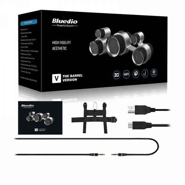 Boxa Portabila Bluedio V (The Barrel Version) Stereo, 5 difuzoare, Wireless, Bluetooth, Sunet 3D, Microfon, USB, Iesire Aux 4