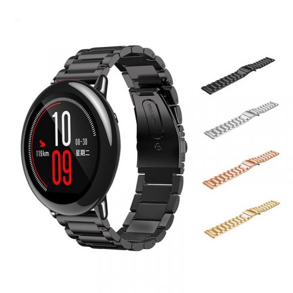 Bratara de schimb din metal cu zale mari 22mm pentru smartwatch Xiaomi AmazFit stratos GTR 47mm, imagine dualstore.ro 2021