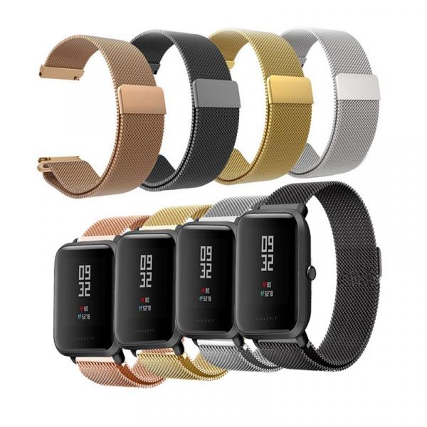 Bratara de schimb din metal cu zale mici pentru smartwatch Xiaomi AmazFit Bip imagine