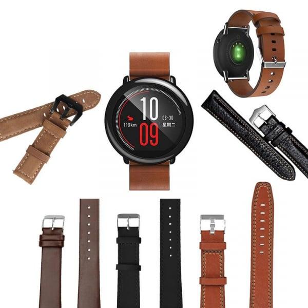 Bratara de schimb din piele pentru smartwatch Xiaomi AmazFit 1, AmazFit 2, 22mm 0