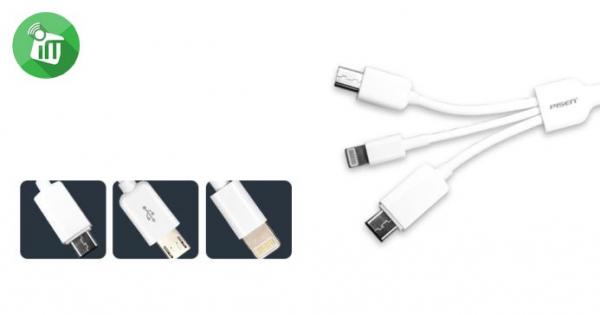 Cablu Incarcare 3 in 1 Pisen (Micro Usb, lightning, tip C) 1