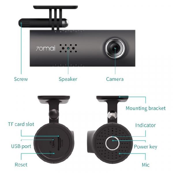 Camera auto 70Mai Midrive 1S D06 Smart Dash Cam 1080HD, Night Vision, Wifi, Inregistrare 130 grade, G-Sensor [6]