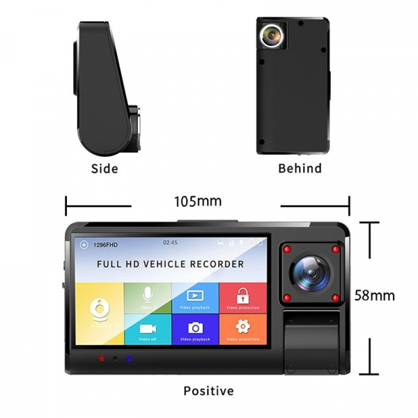 "Camera auto DVR STAR K13 FHD, 3.0"" Touch Screen, 3 Camere, Picture in picture, Slot memorie, 300mAh 1"