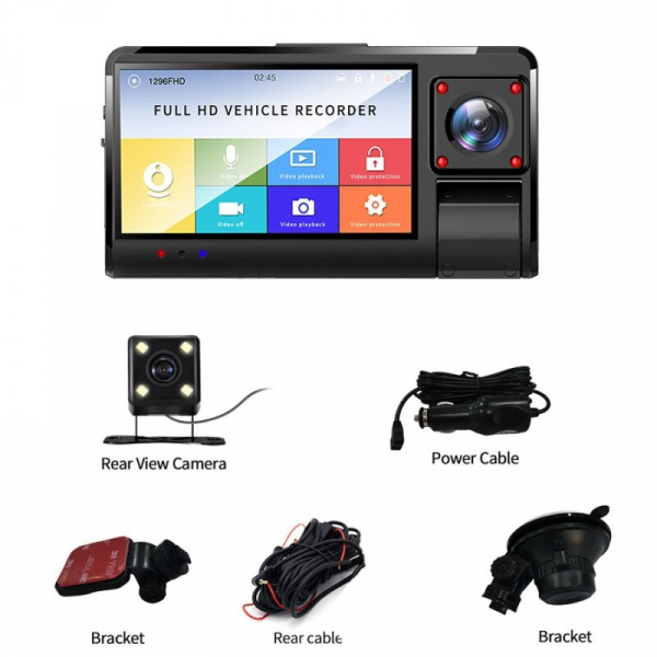 "Camera auto DVR STAR K13 FHD, 3.0"" Touch Screen, 3 Camere, Picture in picture, Slot memorie, 300mAh 2"