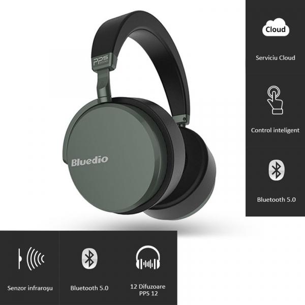 Casti Wireless Bluedio Victory 2 ( V2 ), Stereo, 12 Difuzoare, Bluetooth 5, USB Tip C, Cloud Service, Control Aplicatie imagine