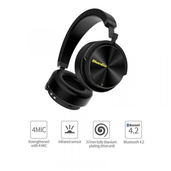 Casti Wireless Stereo Bluedio T5S, Anularea zgomotelor, Tip C, Bluetooth, Microfon, Extra Bass, Senzor Infrarosu [1]