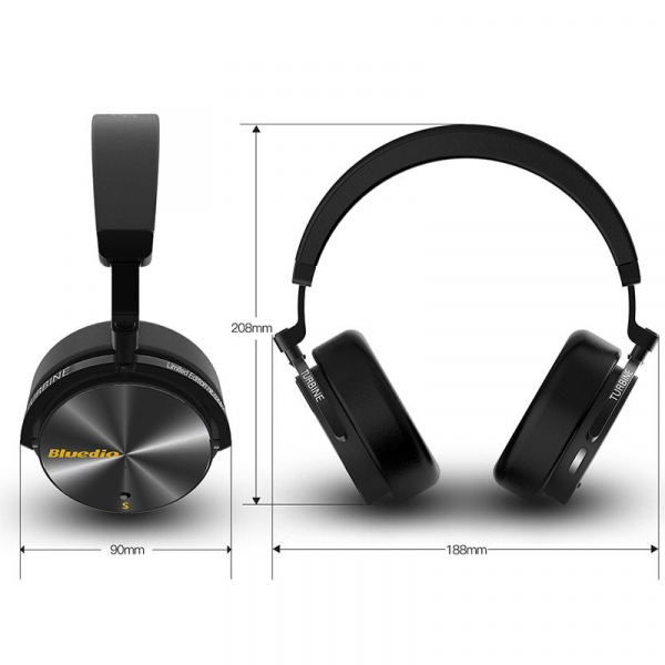 Casti Wireless Stereo Bluedio T5S, Anularea zgomotelor, Tip C, Bluetooth, Microfon, Extra Bass, Senzor Infrarosu [3]