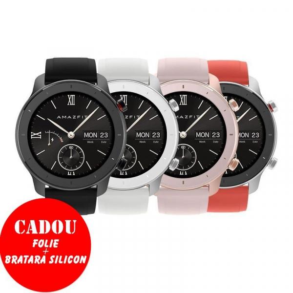 Smartwatch Xiaomi Huami Amazfit GTR Alb, 1.2 inch, 42 mm, Amoled, GPS, 5ATM Waterproof, Bluetooth 5.0, 195 mAh, Global, Resigilat 2
