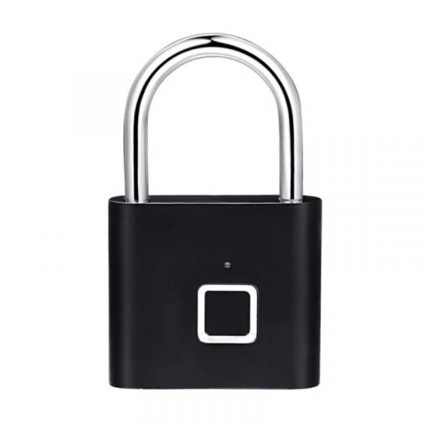 Lacat smart cu amprenta Star Fingerprint Lock fara cheie reincarcabil din aliaj de Zinc cu memorie 10 amprente si autonomie 12 luni Negru 0