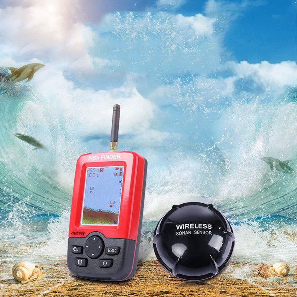 Fish Finder XJ-01, Detector portabil si inteligent de pesti, Ecran LCD, Senzor Sonar Wireless 100m, Sunet Ecou Sonar imagine dualstore.ro 2021
