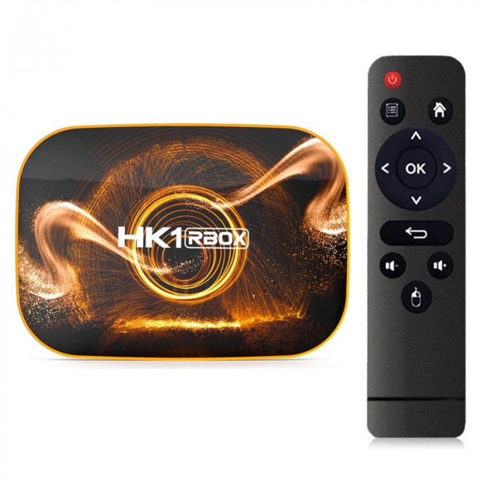 TV Box HK1 RBOX R1 Smart Media Player, 4K, RAM 4GB, ROM 32GB, Android 10.0, Rockchip RK3318 QuadCore, Slot Card, Wi-Fi dual band imagine dualstore.ro 2021