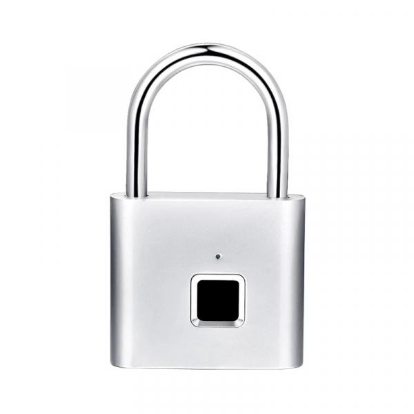Lacat smart cu amprenta Star Fingerprint Lock fara cheie reincarcabil din aliaj de Zinc cu memorie 10 amprente si autonomie 12 luni Silver 0
